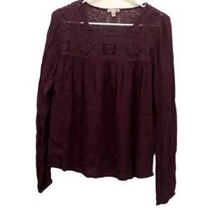 3/$20 Cape Juby crochet lace burgundy blouse